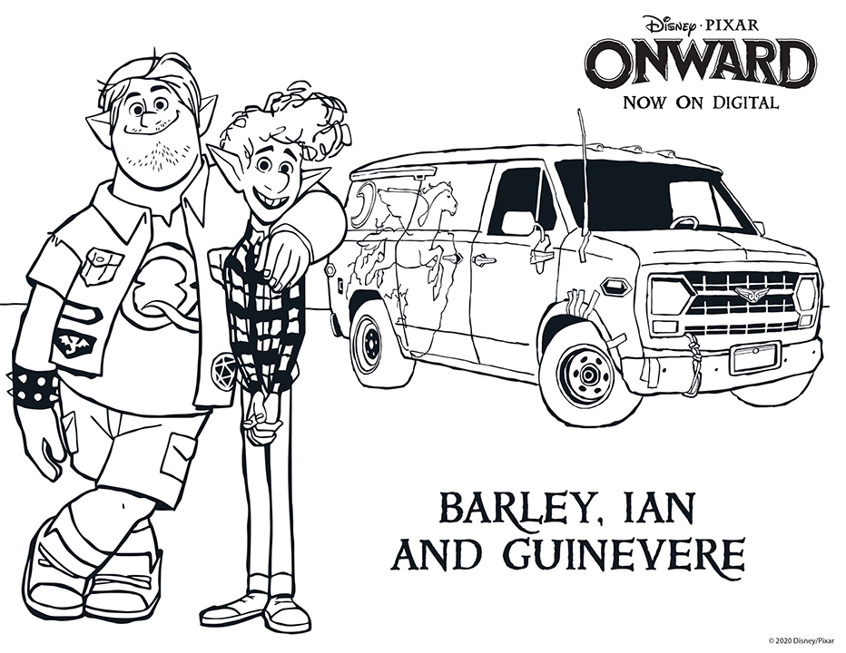 Disney Pixar Onward Coloring Pages - Barley, Ian, and Guinevere