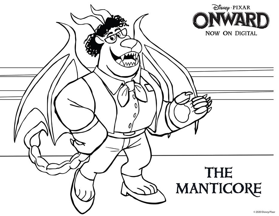 Disney Pixar Onward Coloring Pages - The Manticore